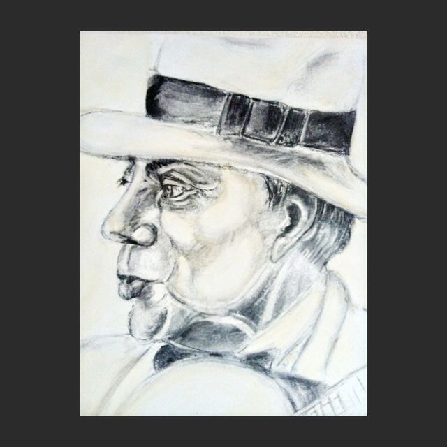50x50 canvas, houtskool op acryl.charcoal man with had  is singing
