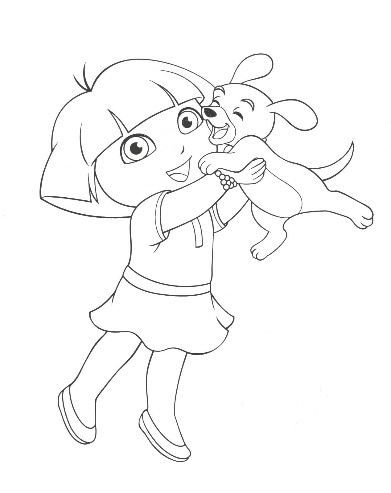 Dora Was Playing With Pet Animals Coloring Page