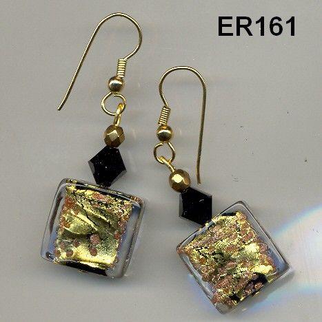 ER161 Sophisticated Black and Gold Art Glass Murano Venetian Earrings