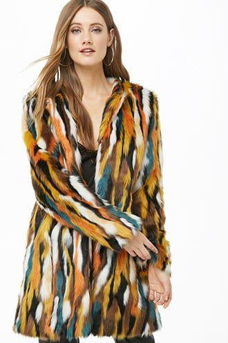 ba7595966e Multicolor Faux Fur Coat | Clothes | Fur multicolor, Faux fur, Fur coat