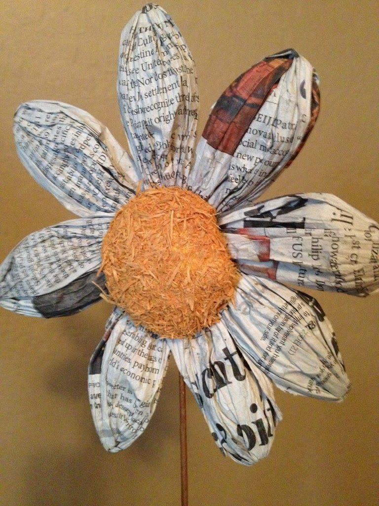 Newspaper Flowers Flowers Pinterest Newspaper Flowers