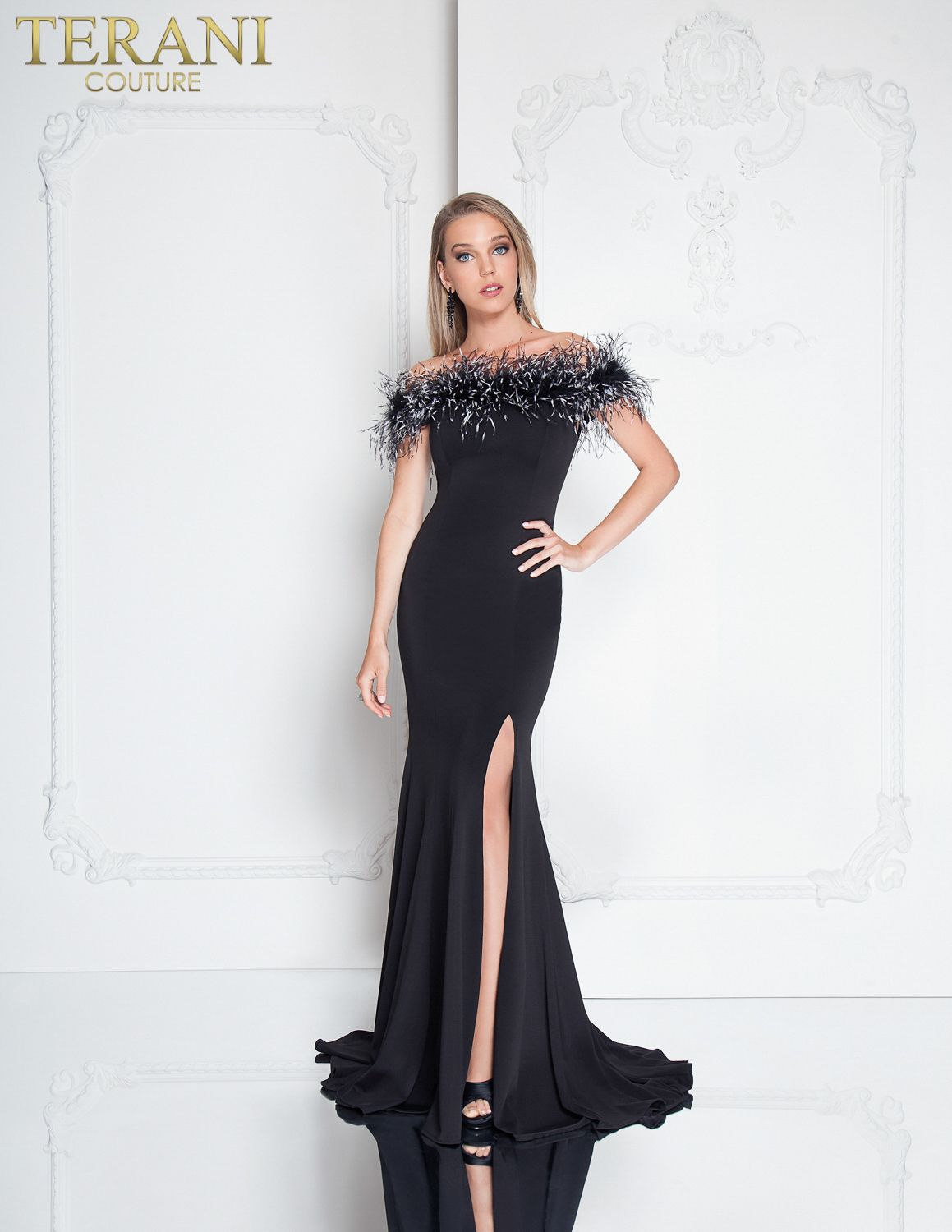 Off Shoulder feathered neckline floor-length gown with high thigh slit. ff0918bda628