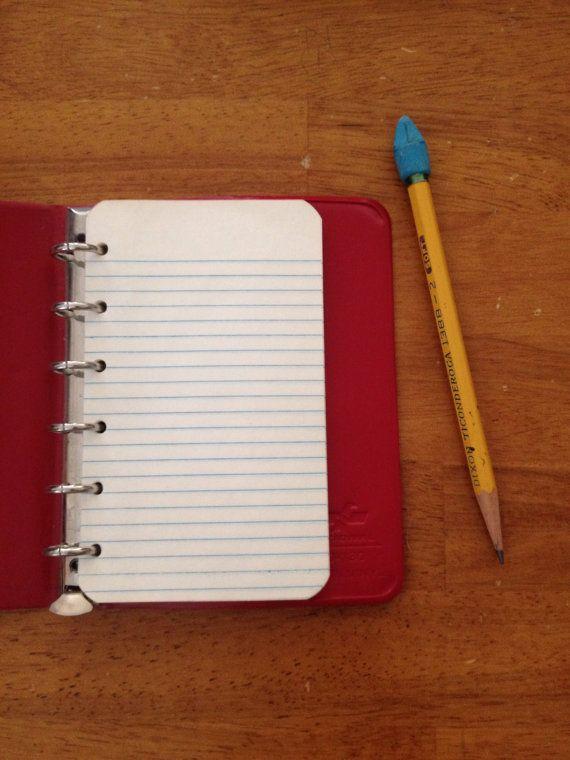 small red vinyl binder school supplies address book vintage purse