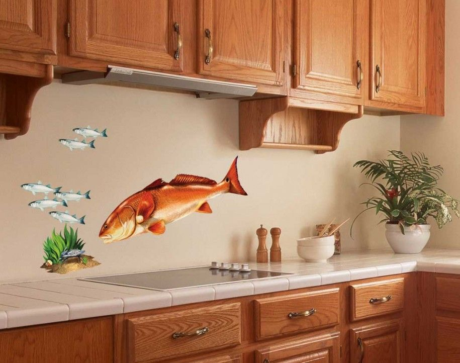 Kitchen: Brown Cabinet And Beige Kitchen Wall Decor With