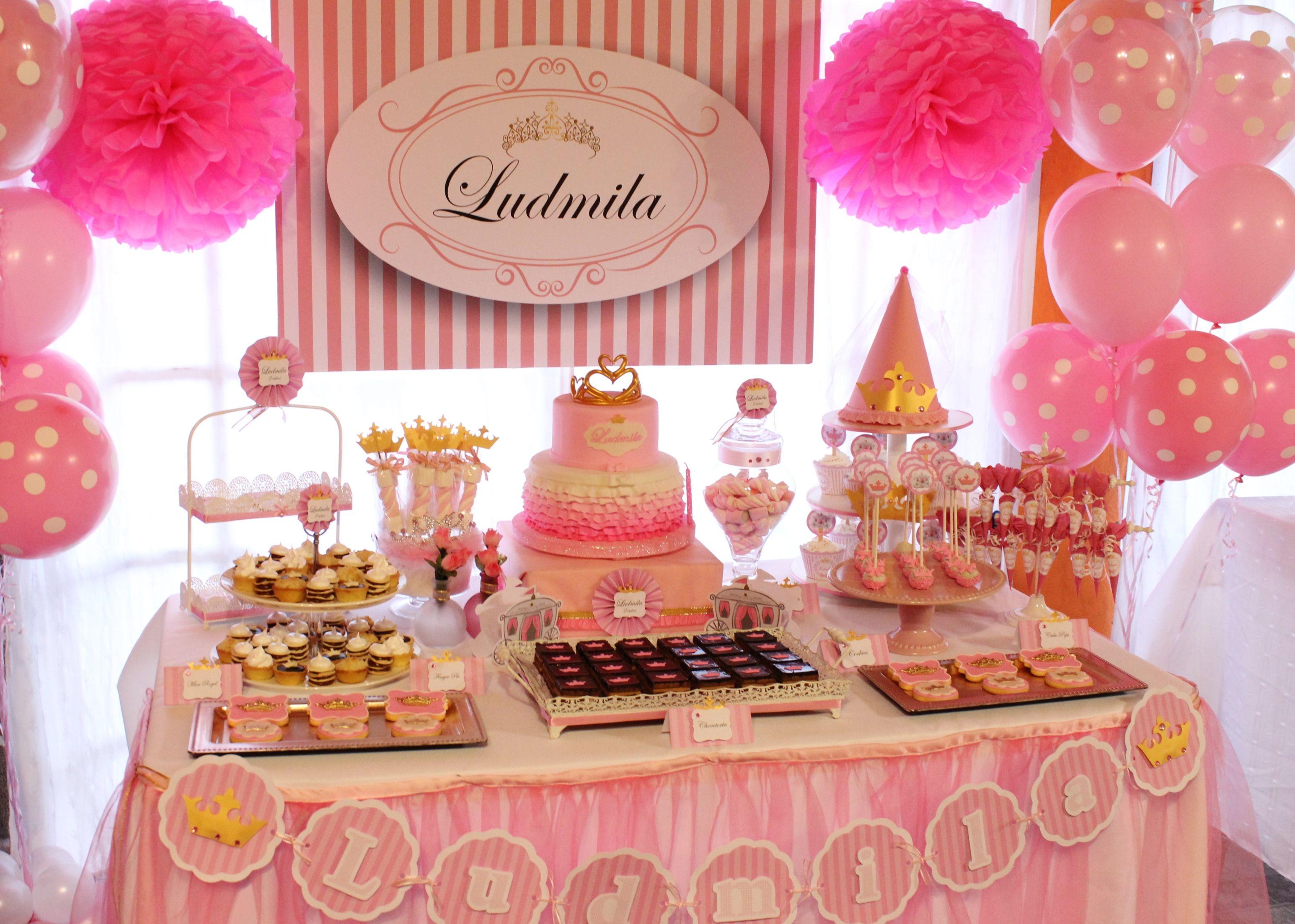 Princess pink candy bar violeta glace paisaje - Como decorar un bar ...
