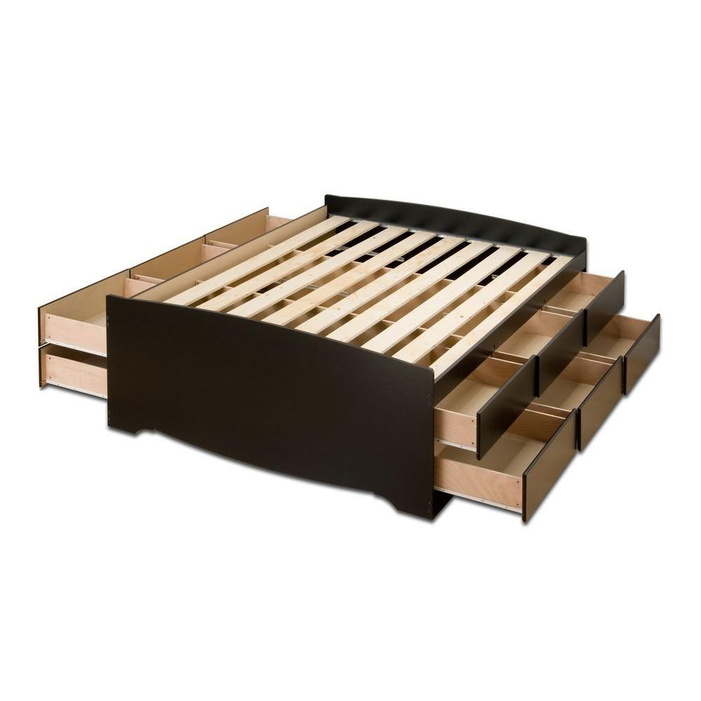 Prepac Queen Wood Storage Bed Bbq 6212 K Storage Bed Bed
