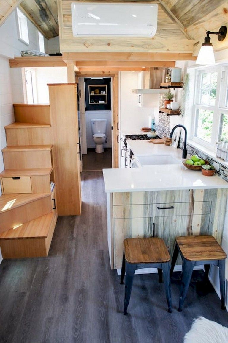 64 Best Tiny House Bathroom Design Ideas Page 52 Of 65 Tiny House Kitchen House Design Kitchen Kitchen Design Small