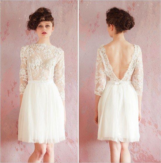 Vestido de novia corto. Sheer lace reception dress / Sarah Seven