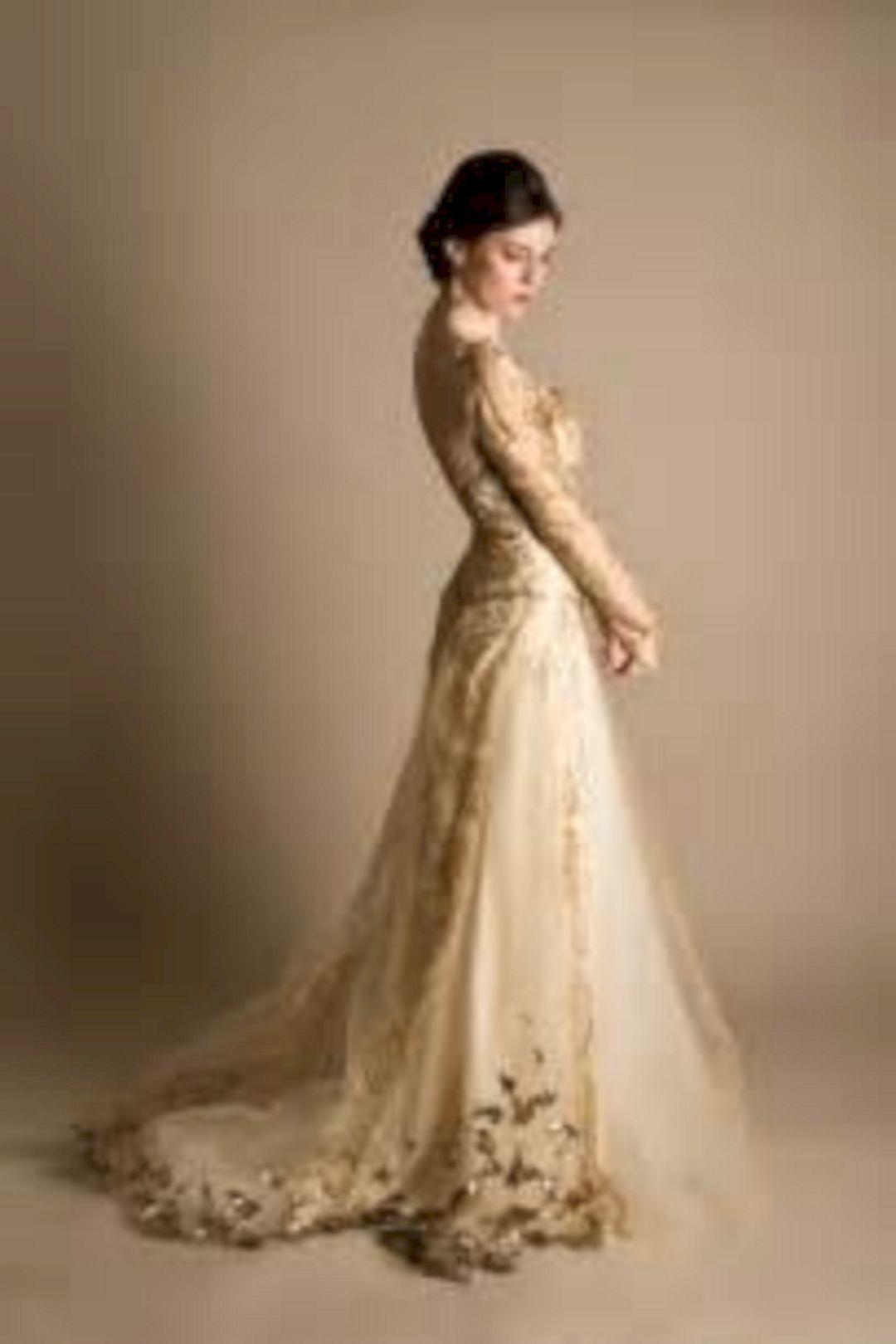 Luxurious golden wedding dress design best picture ideas