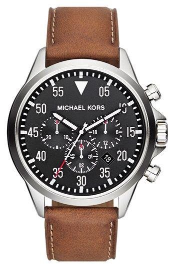54ac465a38ba Michael Kors  Gage  Chronograph Leather Strap Watch