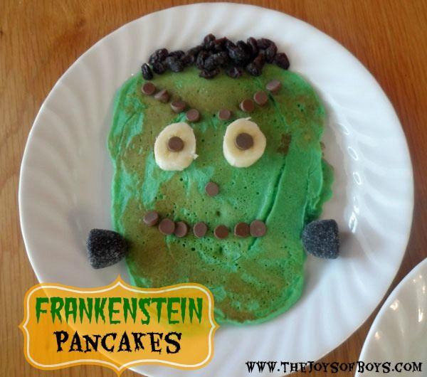 Frankenstein Pancakes- Easy Halloween Breakfast