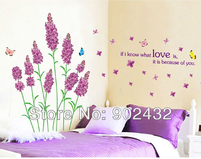 New Removable Vinyl Wall Stickers Purple Love Lavender And Butterfly Home  Decor Wall Decals Free Ship Mixed Part 73