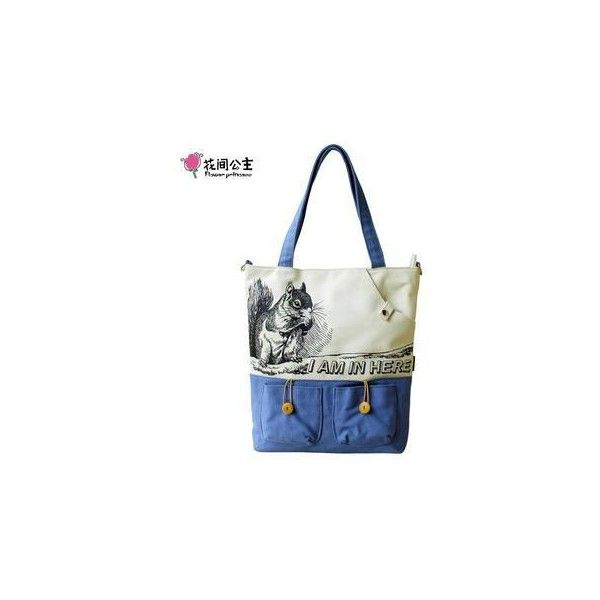 Contrast Squirrel-Print Canvas Tote Blue (€31) found on Polyvore featuring bags, handbags, tote bags, accessories, canvas tote bag, flower purse, canvas purse, print tote bags and canvas tote