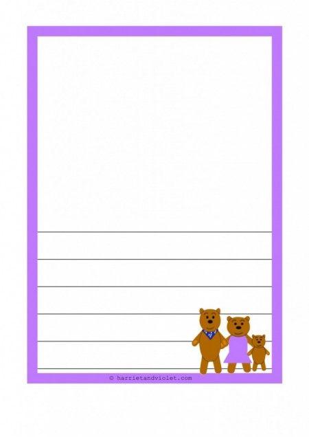 The Three Bears A4 Border Paper Plain Portrait Various Coloured   Lined  Border Paper  Lined Border Paper