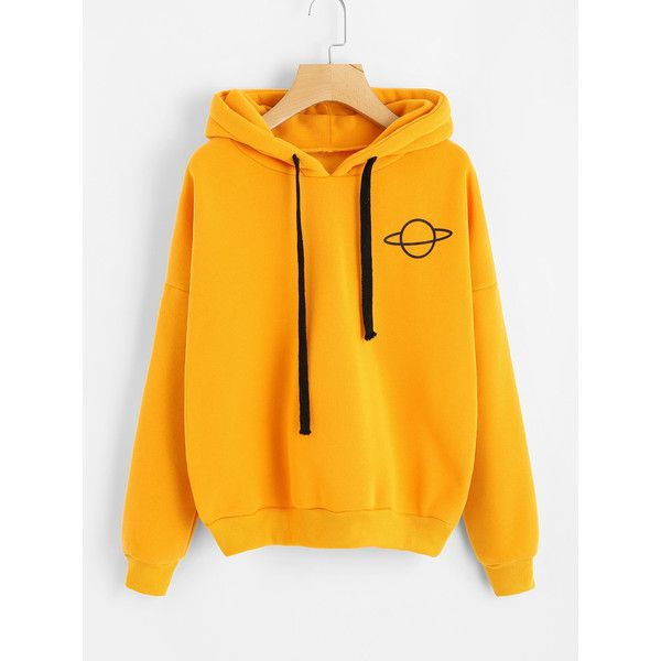 Planet Print Drop Shoulder Hoodie ($15) ❤ liked on Polyvore featuring tops,  hoodies, yellow, orange hooded sweatshirt, yellow hoodies, yellow pullo…