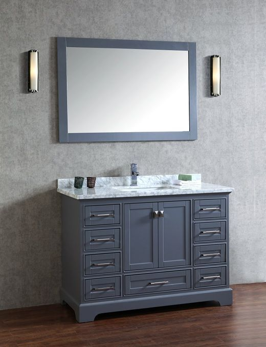Stufurhome Chanel Grey Inch Single Sink Bathroom Vanity With - 48 inch grey bathroom vanity