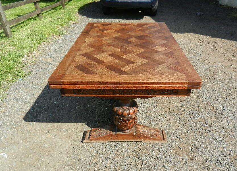 Antique Oak Refectory Table Parquet Top 8ft Draw Leaf Refectory Table To Seat 10 People