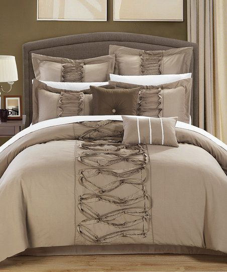 Taupe Ruth Ruffled Comforter Set | zulily