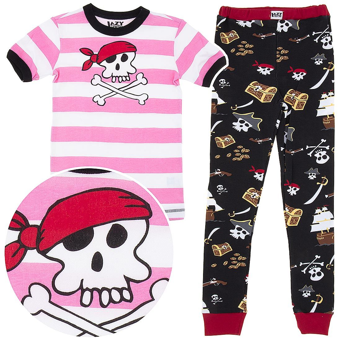 b457a25e6 Lazy One Pink Pirate Cotton Pajamas for Toddlers and Girls http   www.