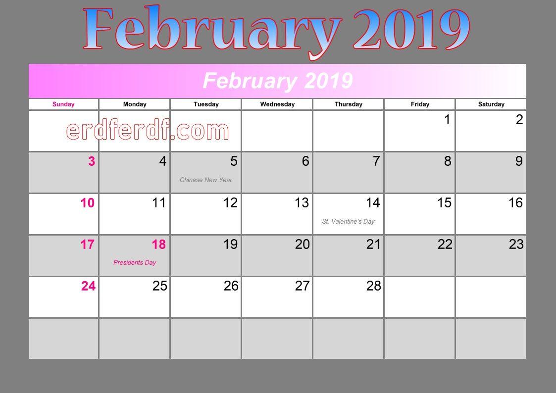 February Calendar Of Events 2019 blank calendar february 2019 events | Monthly Calendar 2019
