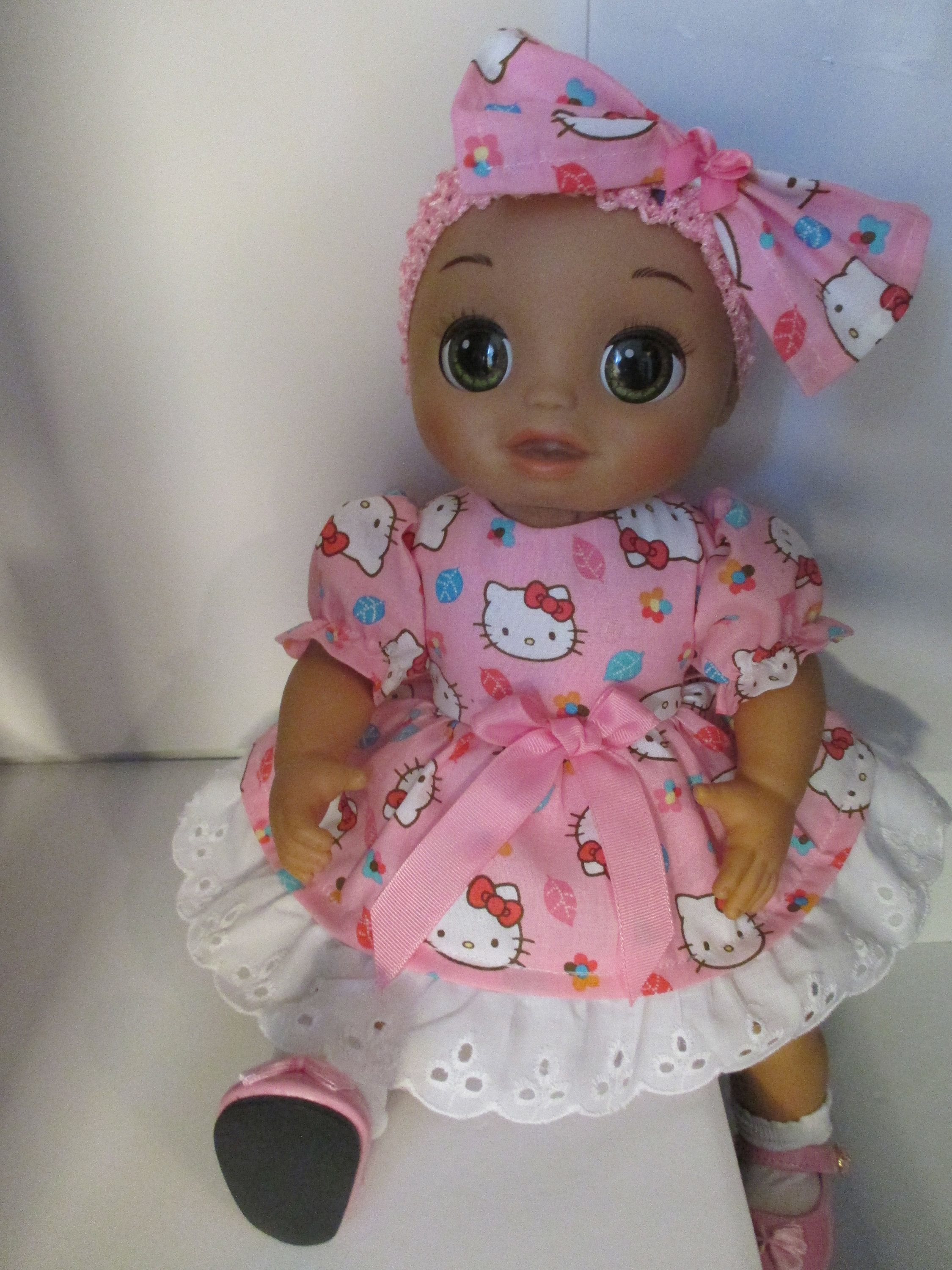 Baby Alive As Real As Can Be 5 Pc Hello Kitty Pink Puff Sleeves Dress Outfit Dress Headband Undies S Baby Alive Doll Clothes Baby Alive Real Looking Baby Dolls