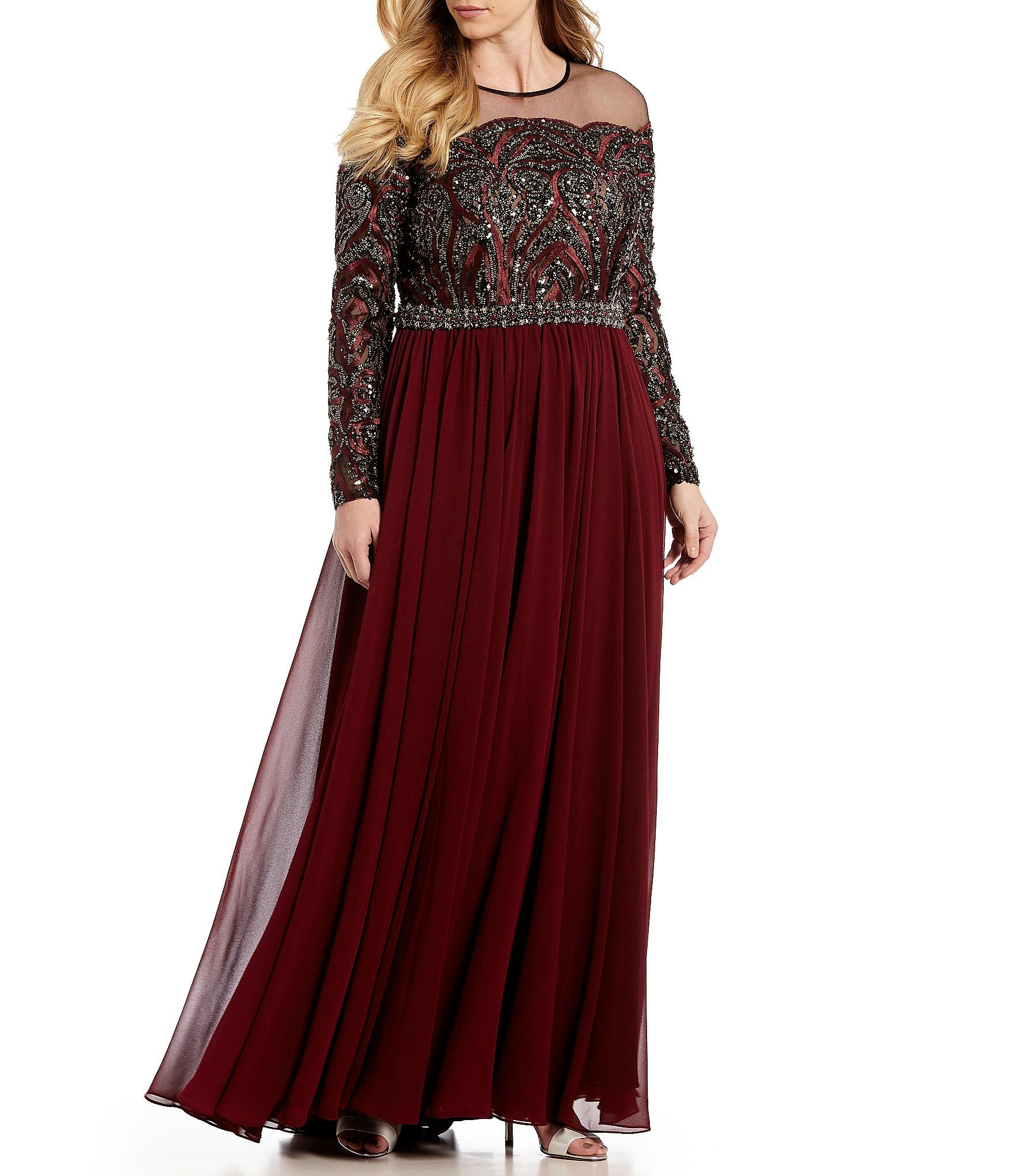 850b98fb3fd Shop for Terani Couture Plus Size Long Sleeve Beaded Bodice Illusion Gown  at Dillards.com. Visit Dillards.com to find clothing