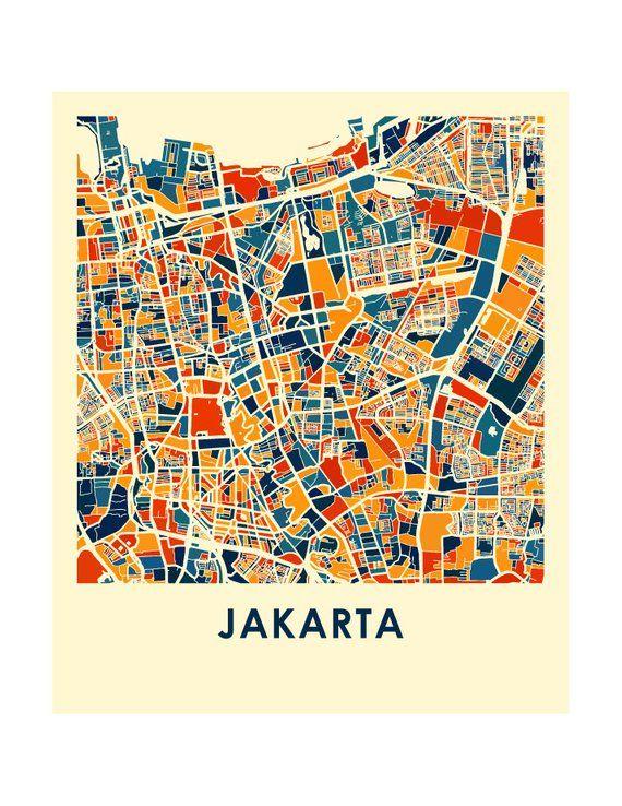Jakarta Map Print - Full Color Map Poster | Landkarten ...