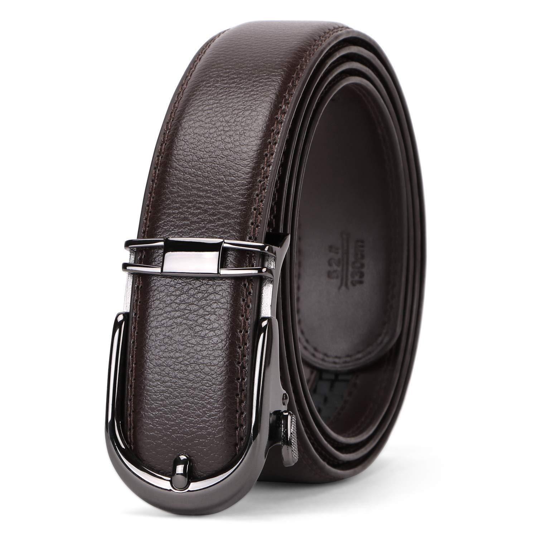 Mens genuine leather ratchet click belt custom fit