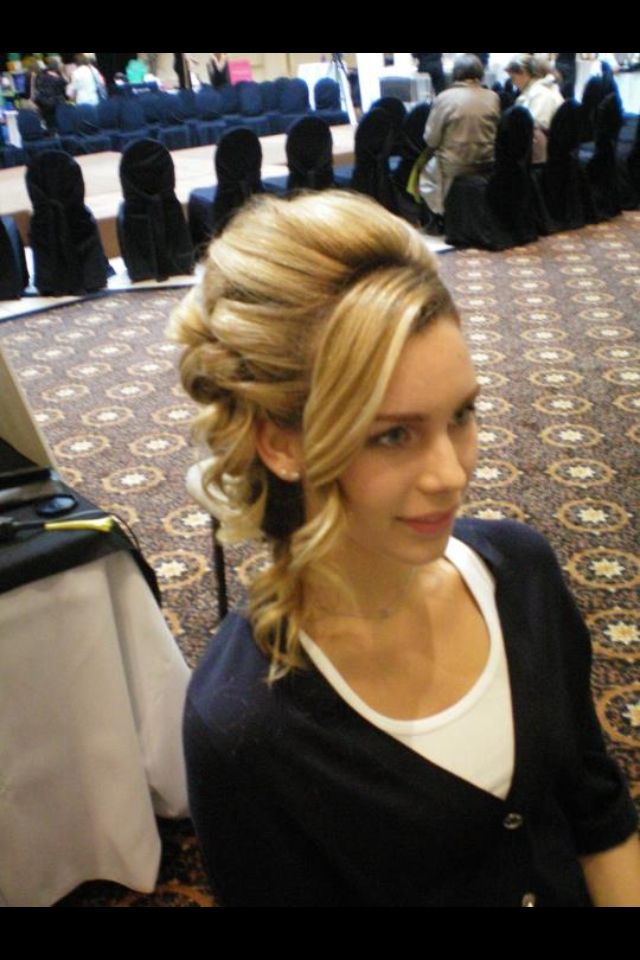 Side updo. Model for fashion show.