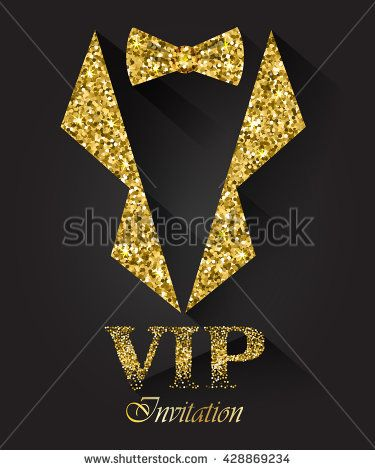 41ba396c41392 Black VIP background with golden tuxedo and bow tie, vector ...