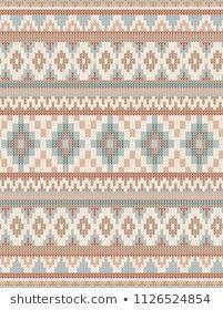 Photo of Стоковая векторная графика «Knitted Indian Rug Paisley Ornam…