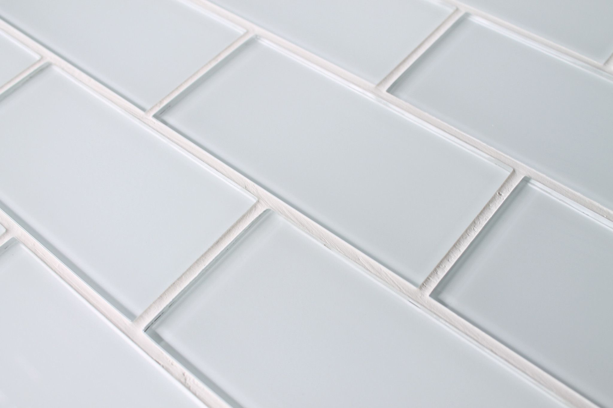 Snow white  glass subway tiles also our new kitchen    pip   open shelves and