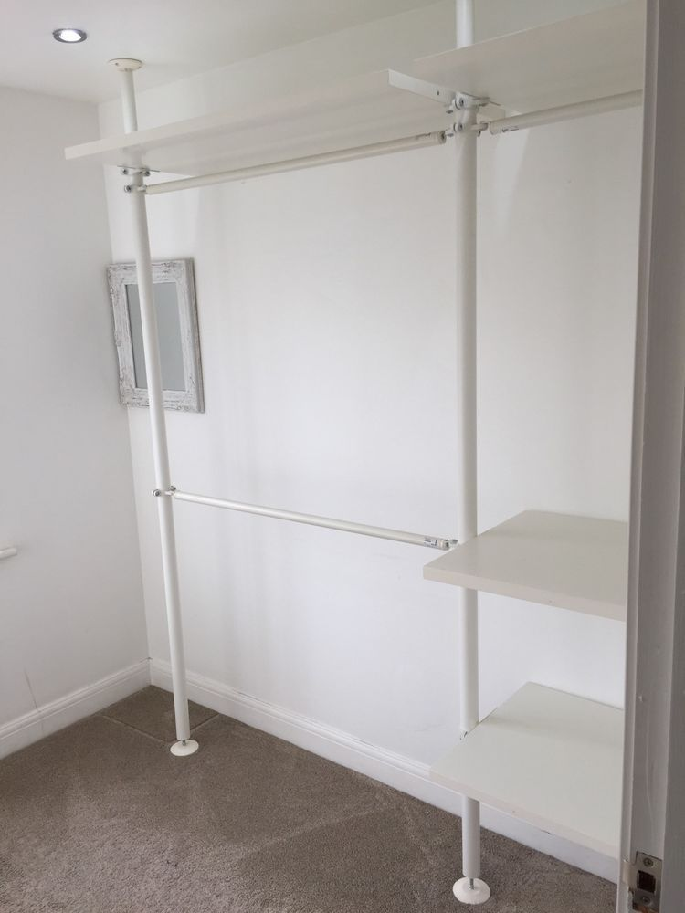 Ikea stolmen shelves clothes wardrobe rail poles house idea pinterest shelves clothes and - Walk in wardrobes diy ...