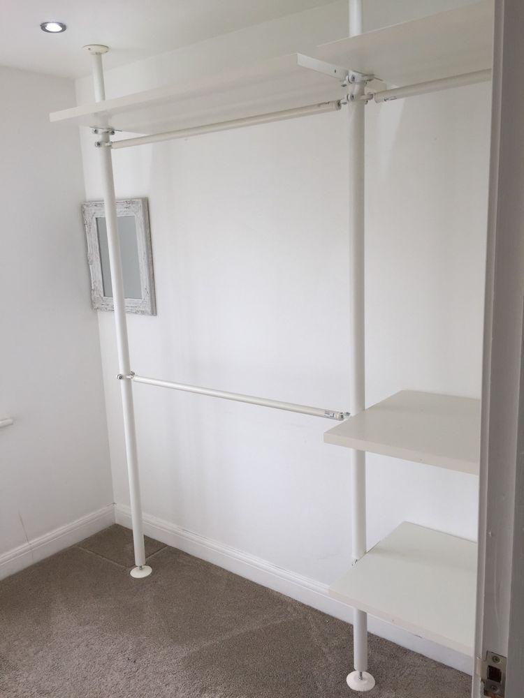 ikea stolmen shelves clothes wardrobe rail poles house idea pinterest penderie dressing. Black Bedroom Furniture Sets. Home Design Ideas