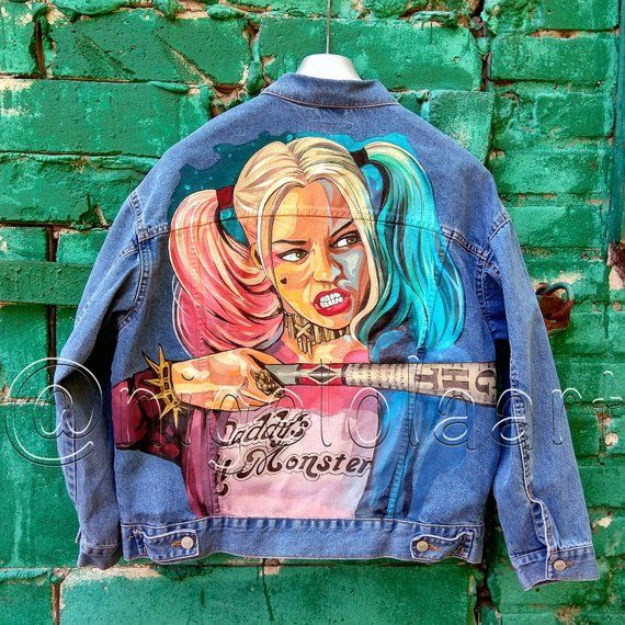 Art portraits Harley Quinn from Suicide Squad jean jacket, painted denim jacket, denim jacket, painted jacket, hand painted denim jacket #jeanjacketoutfits