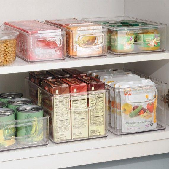Organisateur Placard Cuisine: Long Bac En Plastique S Transparent Et Empilable Pour