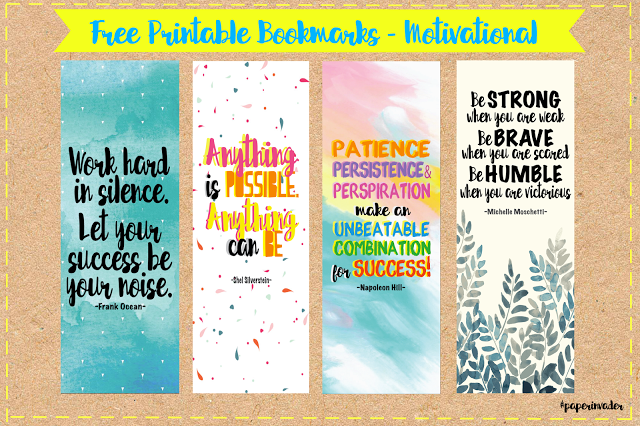photo about Printable Book Marks named Paper Invader: No cost Printable Bookmarks - Motivational