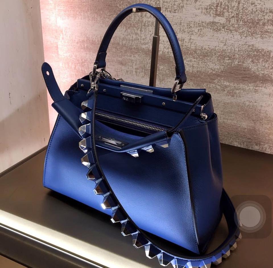 FENDI Medium Peekaboo and Blue Studs Strap | Branded bags, Bags ...