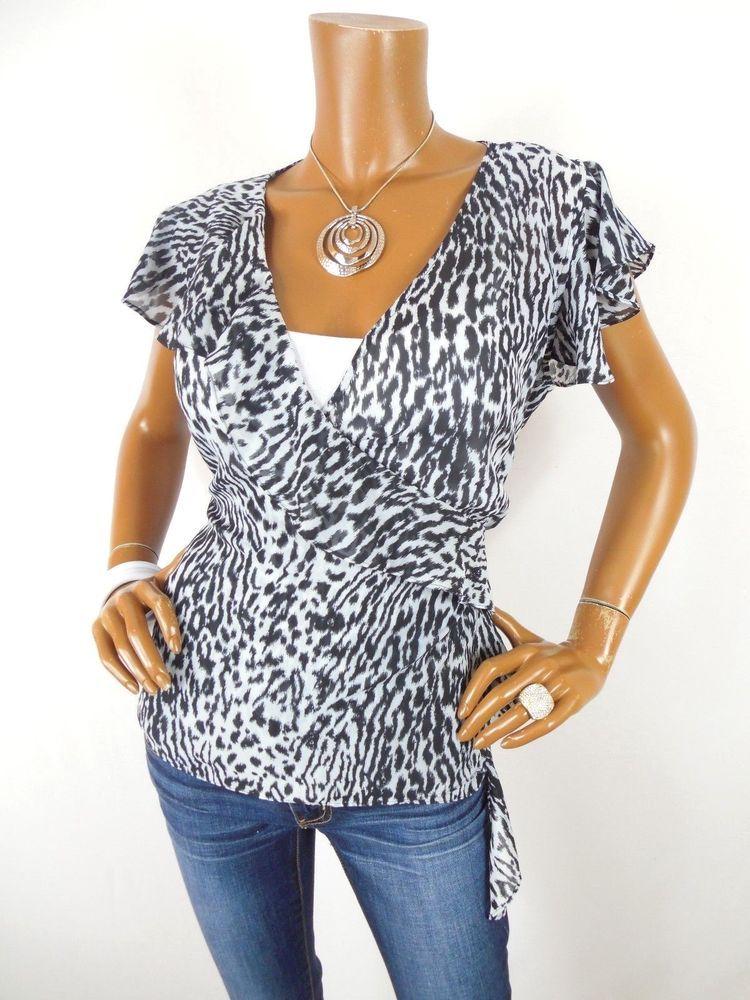 APOSTROPHE Womens Top L SEXY Wrap Blouse Sheer Animal Print Shirt Side Tie   Apostrophe  Blouse  Casual 492301a1e05e