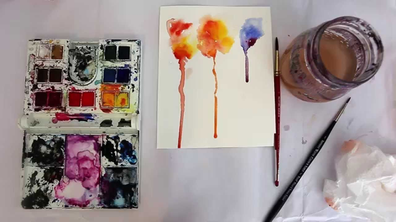 How To Use Watercolours Bleeding Drip Technique Youtube