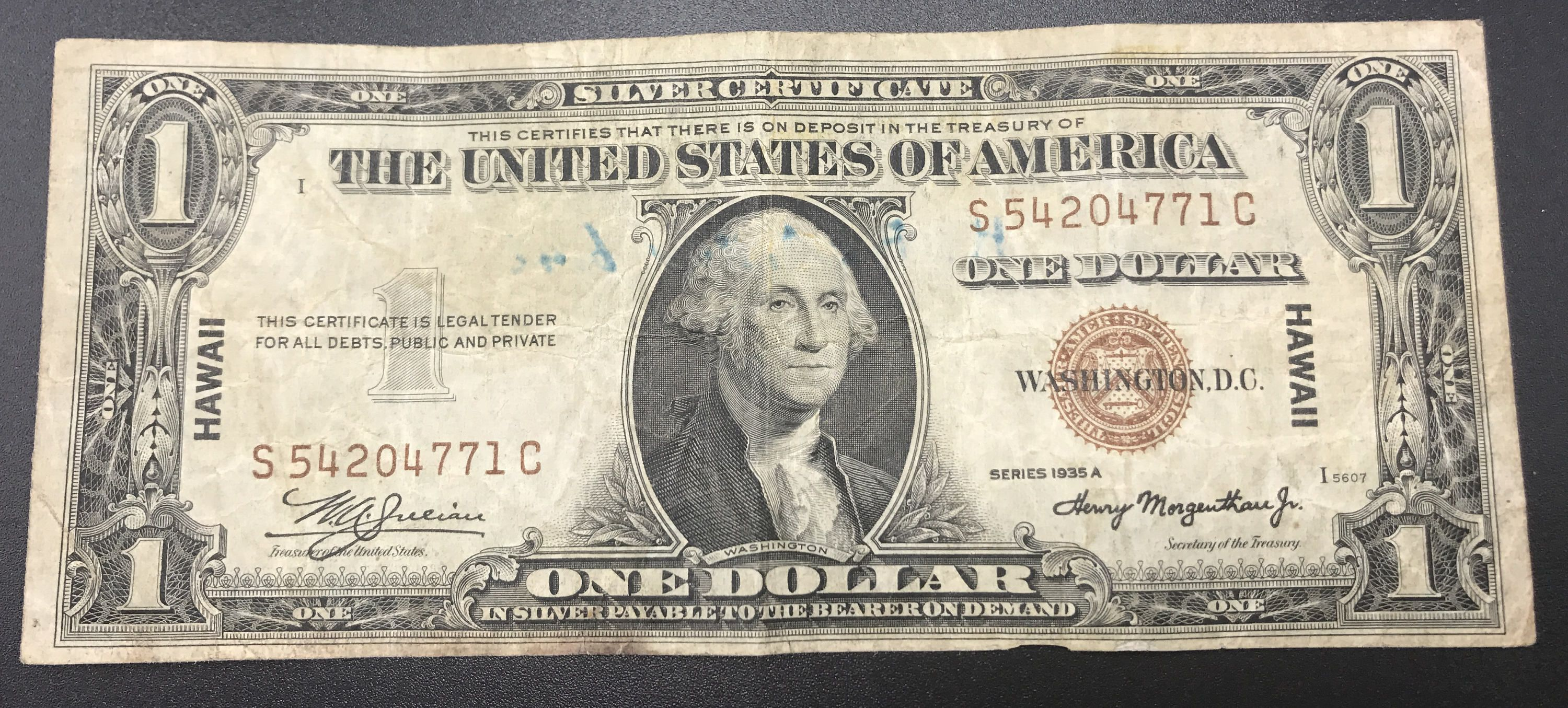 Paper Money Silver Certificate One Dollar 1935a Hawaii Brown Wwii
