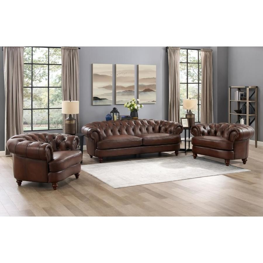 Hydeline Newport 100 Leather 3 Piece Living Room Sofa Chair And Chair Brown Lowes Com Living Room Leather Living Room Sets Leather Sofa And Loveseat