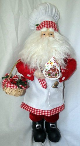Cooking Santa Chef With Gingerbread House Holiday Kitchen