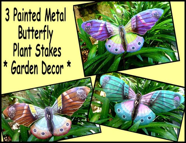 Butterflies   Garden Decor   3 Painted Metal Plant Stakes   Metal Art   Butterfly  Garden