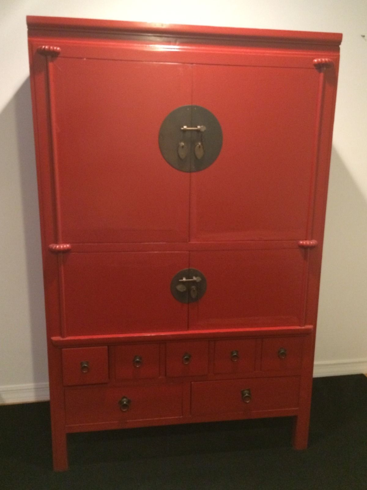 Beautiful Chinese Red Ornate Armoire TV Armoire TV Stand | eBay ...