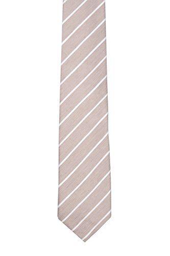 Notch Men's Linen Necktie – DJINGIS – Thin, white stripes on sand coloured linen