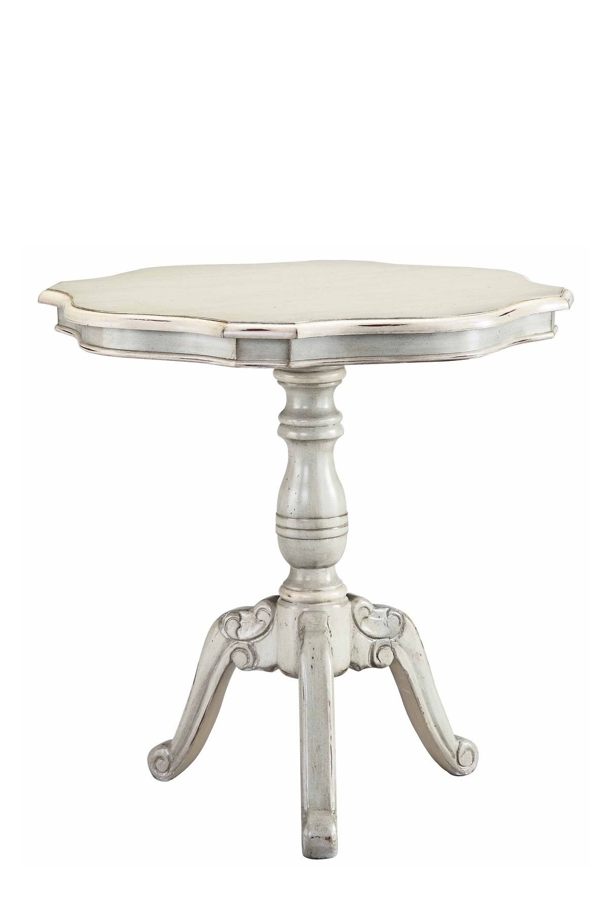 French Cottage Mont Blanc Round Accent Table Entrada Mesa