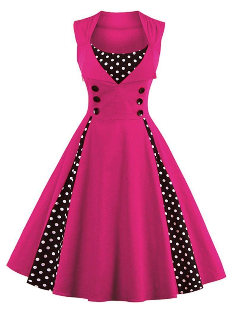 Midi Polka Dot Prom Rockabilly Swing Vintage Prom Dresses - TUTTI ...