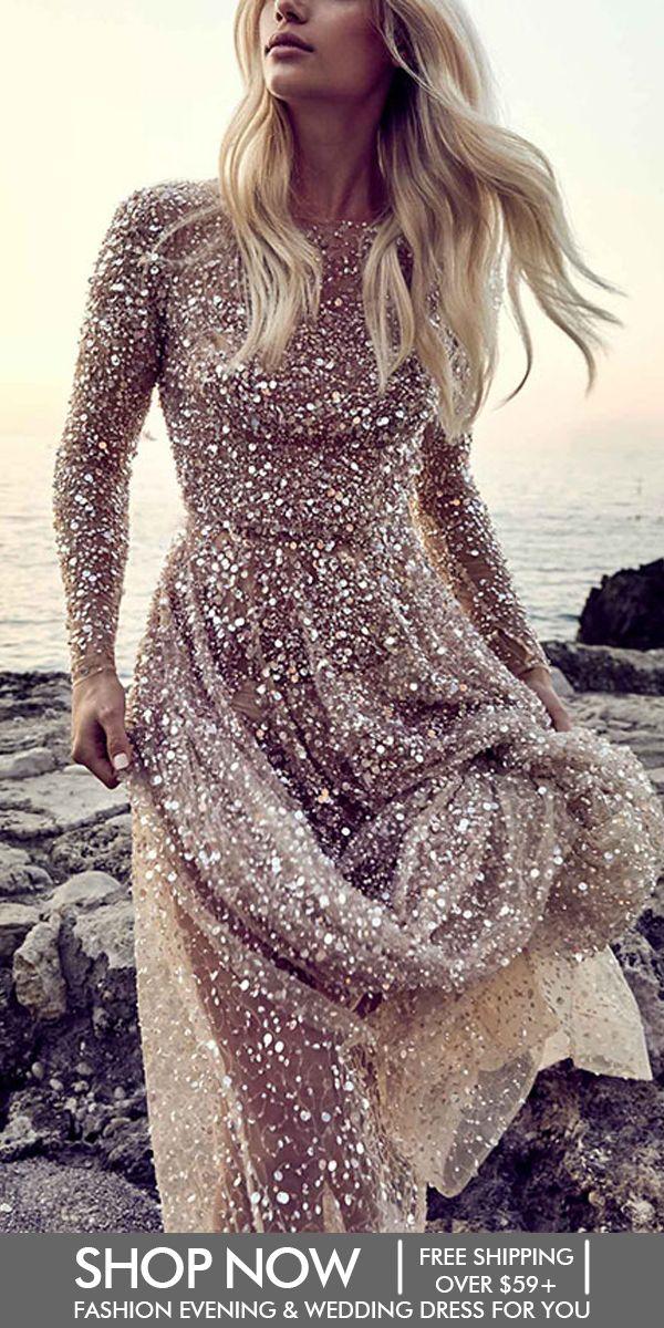 Photo of Romantic Halter Bare Back Paillette Evening Dress