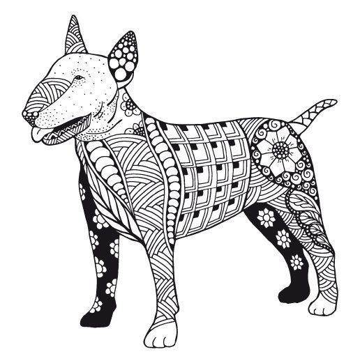 Kostenloses Ausmalbild Hund - Pitbull. Die gratis Mandala Malvorlage ...